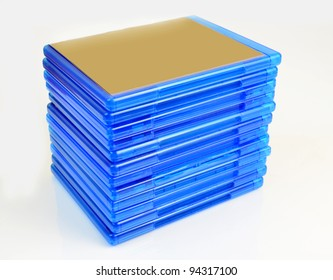 Pile of Blu Ray disc boxes isolated on white background