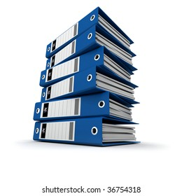A pile of blue ring binders against a white background