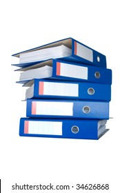 Pile of blue ring binders. Isolated on white background.