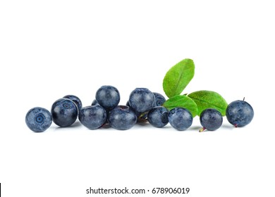 Pile of blueberries isolated on white background
