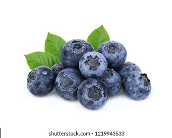 pile of blueberry with green leves isolated on white background
