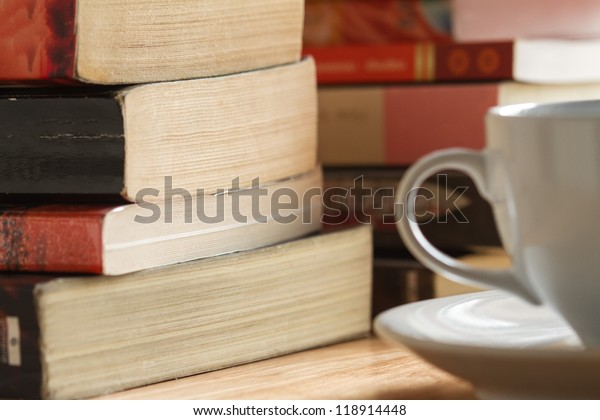 pile of book after reading on the table