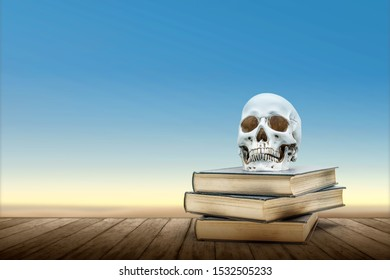 Pile of the book with a human skull on a wooden table with a sky background