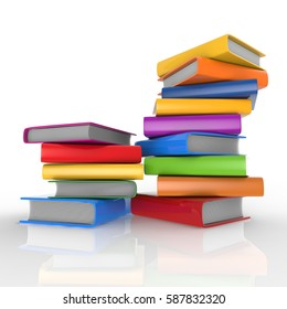 Pile of books 3d render