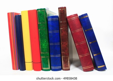 pile of books in closeup  on white background
