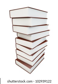 Pile of books isolated on white with clipping path