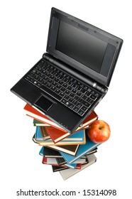"""Pile of books, notebook and apple isolated on a white background.  Concept for """"Back to school"""""""