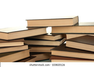 pile of books on white background close-up