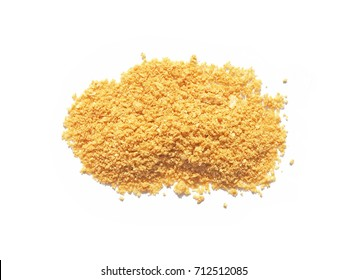 Pile of bread crumbs isolated on white.