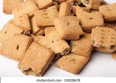 Pile of broken dog treats