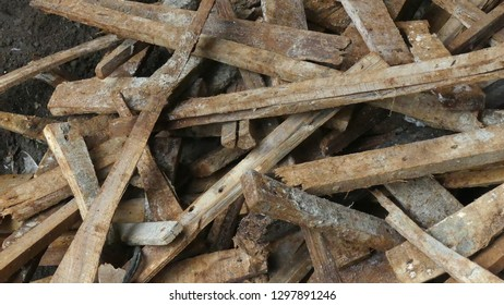 a pile of broken wood
