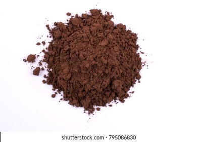 A pile of a brown cocoa  chocolate powder isolated on white background