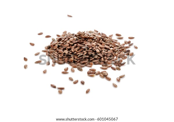 Pile of brown flax seeds isolated on white background. Flax seeds are rich in omega-3 fatty acid.