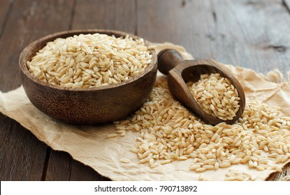 Pile of Brown rice in a bowl with a wooden spoon close up