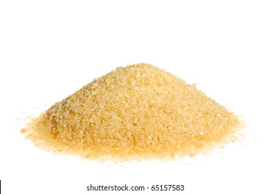 A pile of brown sugar isolated on a white background