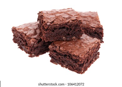 Pile of brownies isolated on white
