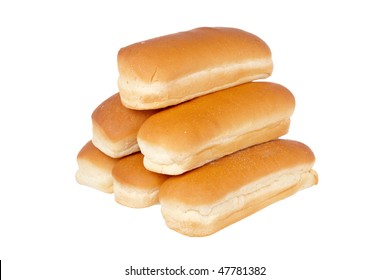 A pile of buns for hot dog isolated on white background