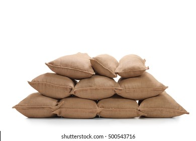 Pile of burlap sacks isolated on white background