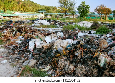 Pile of burned garbage in Ton Sai village on Phi Phi Don Island, Krabi Province, Thailand. Koh Phi Phi Don is part of a marine national park.