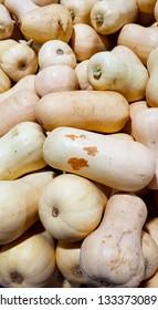A pile of butternut pumpkins at a greengrocers.