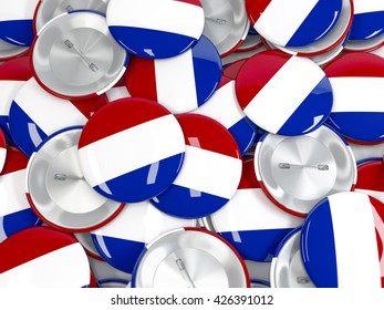 Pile of button badges with flag of Netherlands. Realistic 3d render