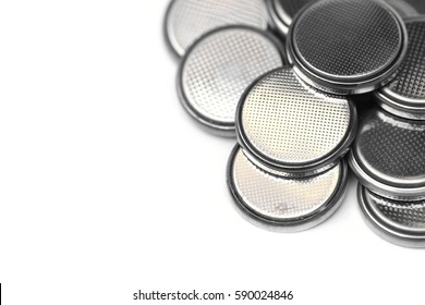 A pile of  button cell lithium battery isolated