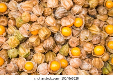 Pile of cape gooseberry on sale in the market.Thailand