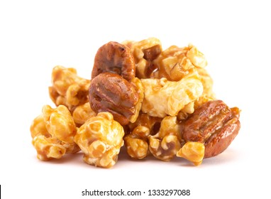 A Pile of Caramel Pecan Popcorn on a White Background