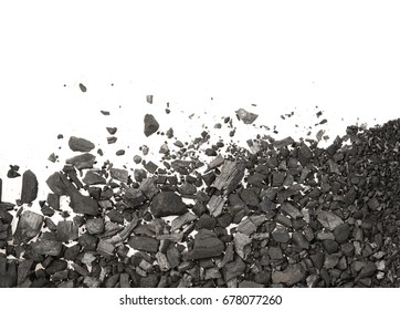 Pile of Carbon charcoal dust on white background top view