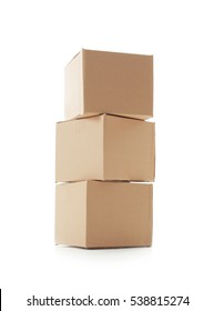 Pile of cardboard boxes isolated on white