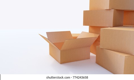 Pile of cardboard boxes isolated on white.