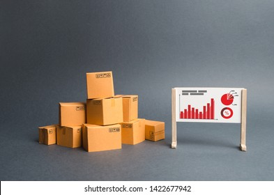 A pile of cardboard boxes and a stand with information and statistical graphs. report on the rate of production and sale of goods, economic growth and an assessment of supply and demand. Business.