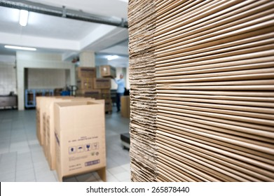 Pile of cardboard in a factory