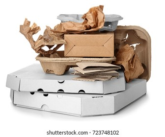 Pile of cardboard garbage on white background