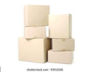 Pile of cardboard parcels shot on white background