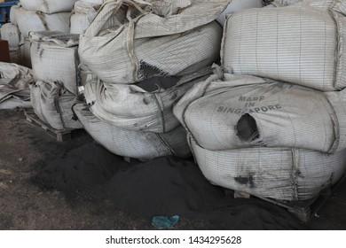 pile of cement bags in a factory, Jeddah, Saudi Arabia, feb 2018