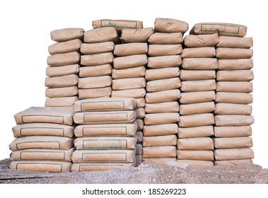 Pile of Cement in bags,neatly stacked for a construction project