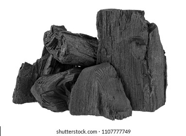 Pile of charcoal isolated on white background