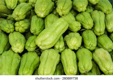Pile of chayote fruits