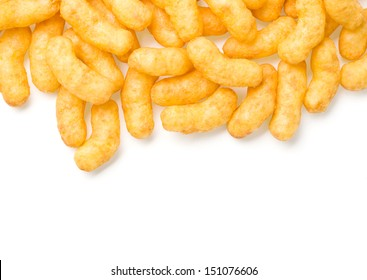 pile up of cheese curl snack. with clipping path