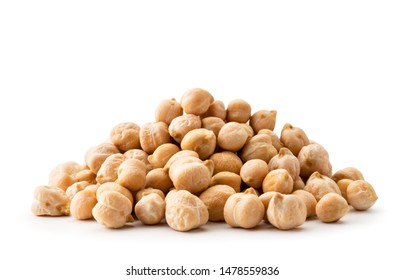 Pile chickpeas close-up on a white background. Isolated