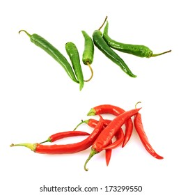 Pile of chili peppers isolated over white background, set of two versions red and green