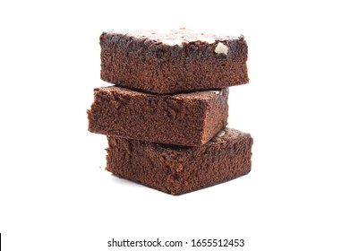 Pile of Chocolate brownie with sliced almond nuts toppings isolated on white background.