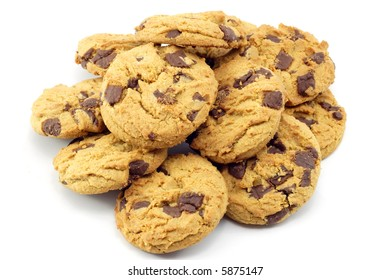 Pile of chocolate chip cookies isolated on white
