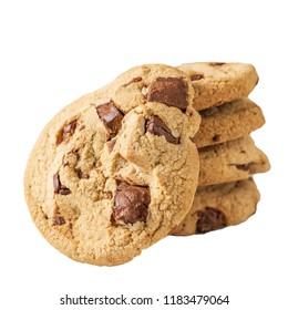 Pile of chocolate cookies isolate picture on white background with clipping path