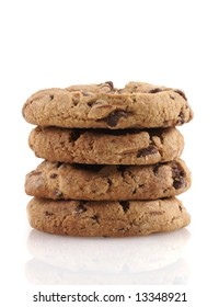 Pile of chocolate cookies on a white background.