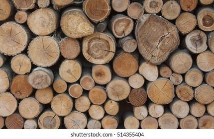Pile of chopped fire wood prepared