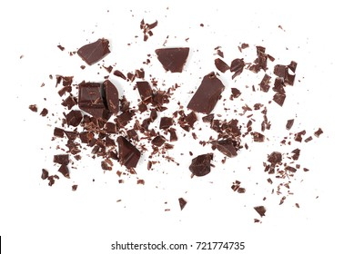 Pile chopped, milled chocolate shavings isolated on white
