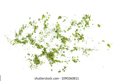 Pile of chopped parsley isolated on white background, top view