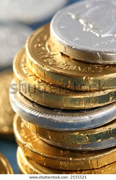 pile christmas chocolate coins